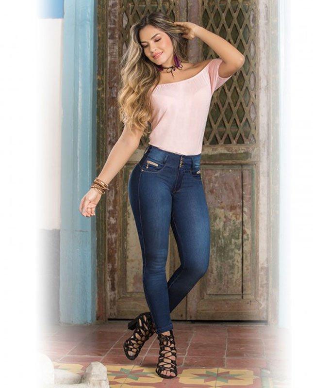 Push-up Jeans Figuurcorrigerende Spijkerbroek Dames - voorkant
